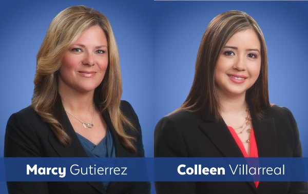 Headshots of attorneys Marcy Gutierrez and Colleen Villarreal, side by side.